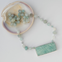 Sterling silver and mint amazonite necklace