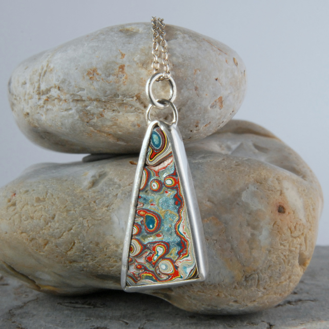 Swirly Dagenham fordite and sterling silver pendant