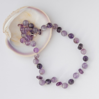 Sterling silver and amethyst beaded necklace