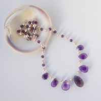 Purple amethyst and pearl beaded sterling silver necklace
