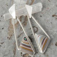 Geometric fordite and sterling silver drop earrings