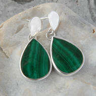Sterling silver and deep green malachite drop earrings