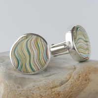 Vintage pastel fordite and sterling silver swivel back cufflinks