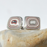 Sterling silver and sparkly oblong fordite cufflinks
