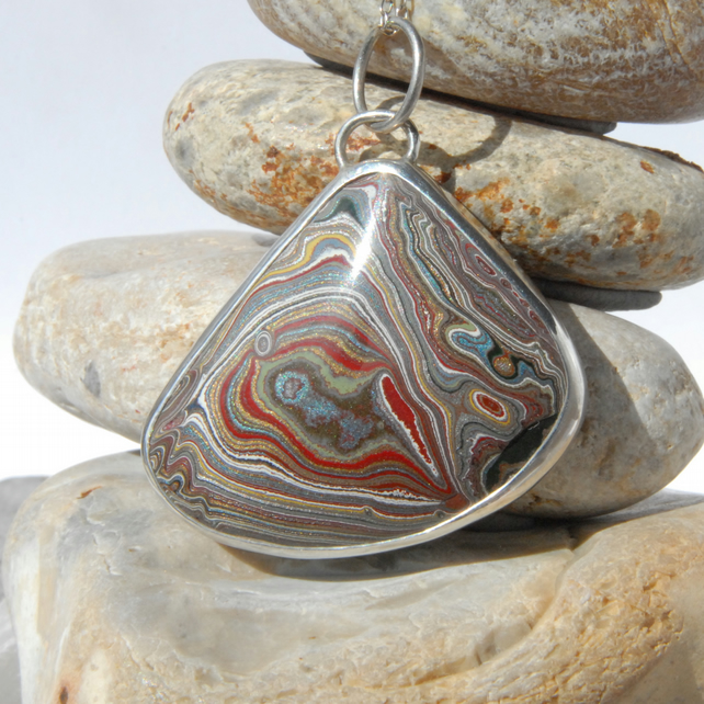 Vintage Ellesmere Port fordite and sterling silver pendant