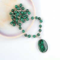 Dainty malachite pendant and necklace set