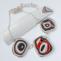 Bold fordite and sterling silver necklace