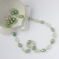 Soft green pearl and prehnite beaded necklace