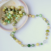 Long citrus hued beaded sterling silver necklace