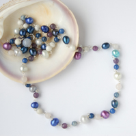Blue and purple beaded sterling silver necklace