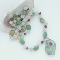 Sterling silver and ruby in fuchsite necklace pendant set