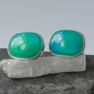 Bright blue bowlerite and sterling silver swivel cufflinks