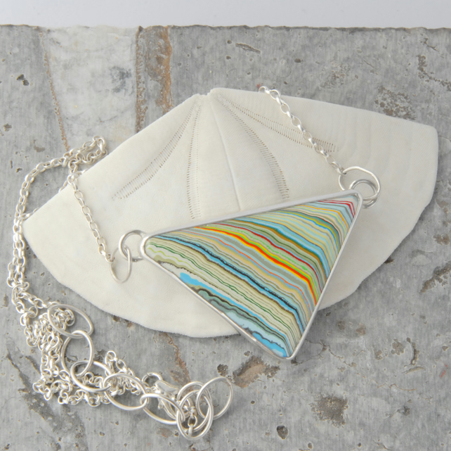 1970 vintage MOPAR fordite and sterling silver triangular necklace