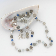 Delicate grey pearl, labradorite and aquamarine beaded necklace