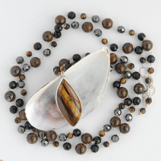 Extra long tigers eye silver necklace