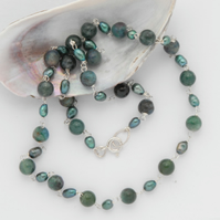 Deep teal pearl and moss agate beaded necklace