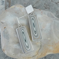 Oblong fordite and silver drop earrings