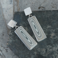 Oblong fordite earrings (sterling silver)
