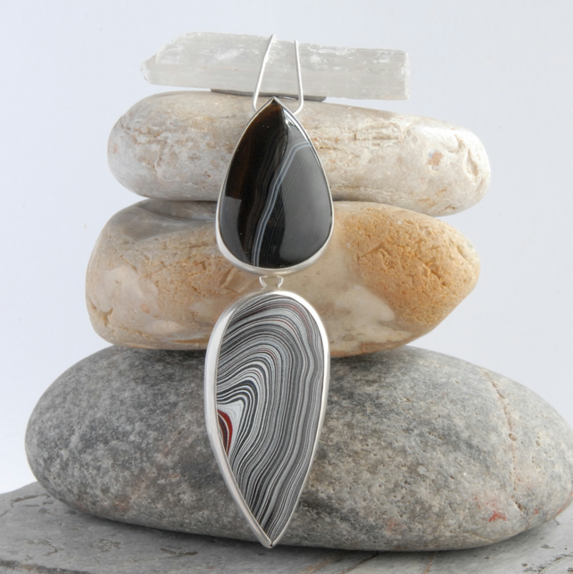 Large agate and fordite sterling silver pendant