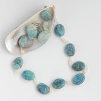 Bue opal and sterling silver necklace