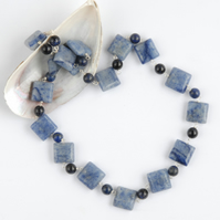 Blue aventurine, lapis and navy goldstone silver necklace