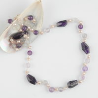 Amethyst nugget and pearl silver necklace