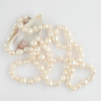 Extra long length chunky cream white pearl necklace