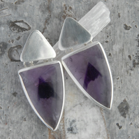 Statement sterling silver and amethyst drop earrings