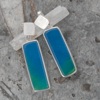 Bright blue bowlerite and sterling silver drop earrings