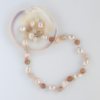 Chunky peach pearl and sunstone necklace