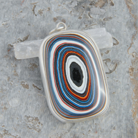 Harley fordite and silver pendant