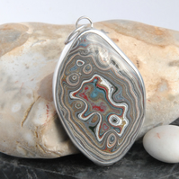 Large Vauxhall fordite and silver pendant