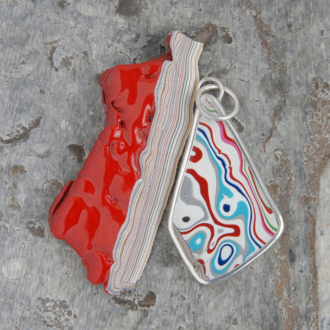 SALE - Freeform fordite and silver pendant
