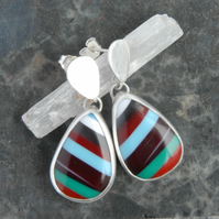 Surfite and sterling silver drop earrings