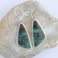 Chrysocolla and sterling silver drop earrings