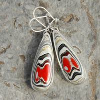 Hazelwood fordite and sterling silver drop earrings