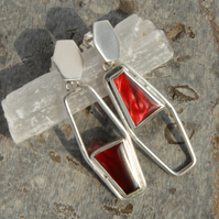 Geometric red bowlerite and silver drop earrings