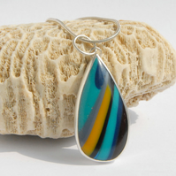 Colourful surfite and silver pendant