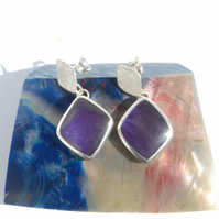 Purple bowlerite and silver drop earrings