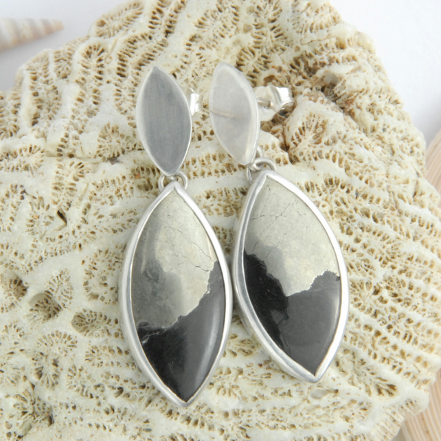 Obsidian, pyrite and sterling silver drop earrings
