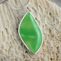 Shimmering green bowlerite and sterling silver free form pendant