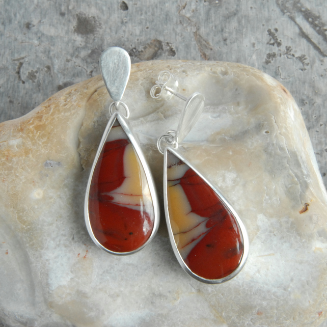 Mookaite and sterling silver drop earrings