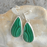Malachite and sterling silver drop earrings
