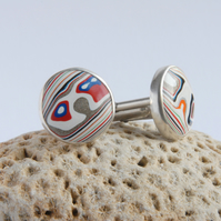 Round Dodge fordite and sterling silver swivel cufflinks