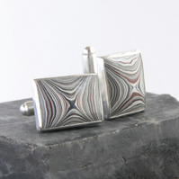 Monochrome fordite and sterling silver cufflinks