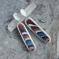 Harley fordite and sterling silver earrings