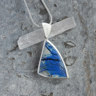 Triangular azurite and sterling silver pendant