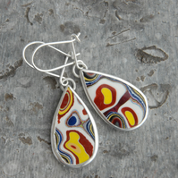 Colourful fordite and sterling silver drop earrings