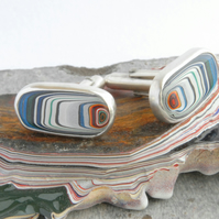 Harley fordite and silver swivel cufflinks