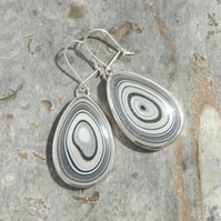 Sparkly fordite drop earrings (sterling silver)